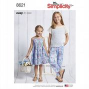 8621 Simplicity Pattern: Child's and Girls' Dress, Top, Trousers and Knit Camisole